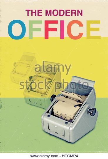The modern office address rotary file mid century retro vintage lifestyle - Stock Image