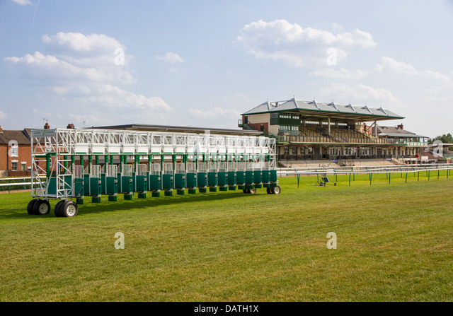 Starting gate and grandstand at Warwick Race Course - Stock Image