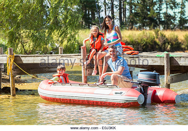 Inflatable boat stock photos inflatable boat stock for Family fishing boats