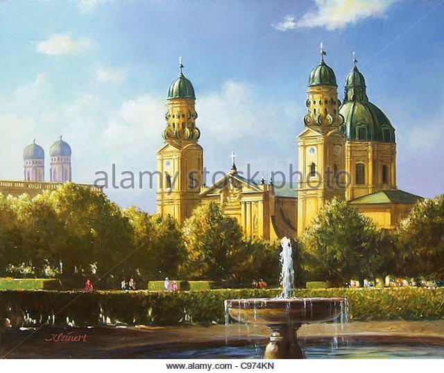 Series Munich Theatinerkirche Hofgarten - Stock-Bilder