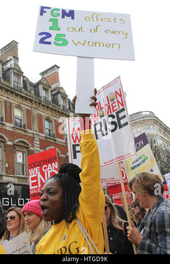 London, UK. March 11,  2017: A anti-Fgm Protestor shouts 'Stop Fgm' during the 10th annual Million Women - Stock Image