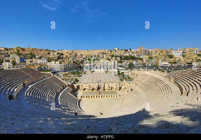Roman theatre on the Hashemite Plaza in the Old City, Amman, Jordan - Stock Image