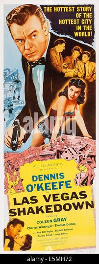 LAS VEGAS SHAKEDOWN, US poster, Dennis O'Keefe (center), bottom left: Dennis O'Keefe, Coleen Gray, 1955 - Stock Image