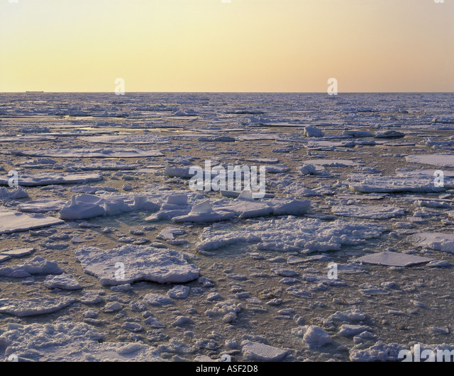 Sea ice pack ice ice floes Ross Sea Antarctica Summer Low sun  - Stock Image