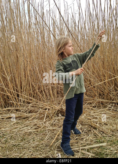 Boy playing outdoors with giant reeds - Stock Image
