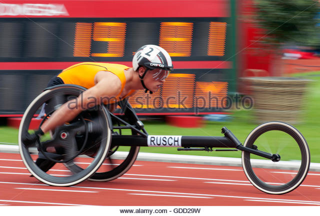 Amsterdam The Netherlands 8th July 2016 European Athletics Championships in Amsterdam. 100m men T34 Stefan Rusch - Stock Image