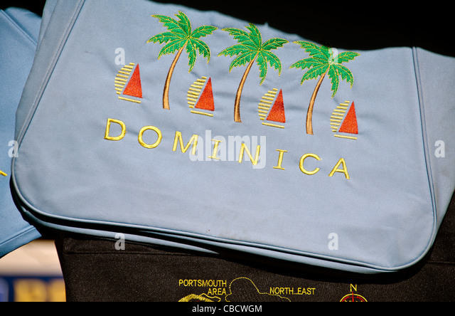 Dominica Caribbean island shopping, a beach bag with the Dominica name - Stock Image