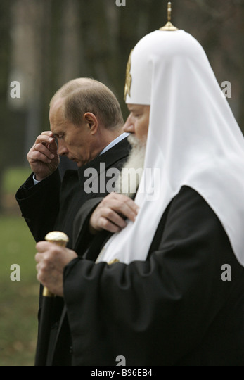 October 30 2007 Russian President Vladimir Putin and Patriarch of Moscow and All Russia Alexy II at the Butovo Memorial - Stock Image