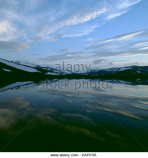 Sulitjelma mountains, Norwegian Swedish border, from Staddajakka, Padjelanta National Park, Lappland, Norrbottens - Stock Image