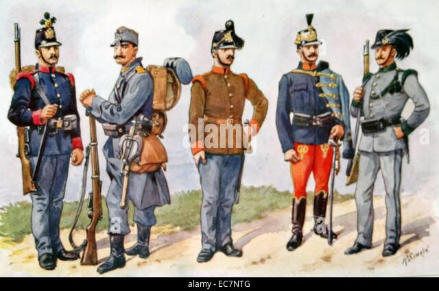 Uniforms of the Austro-Hungarian army in World War one - Stock Image