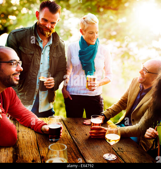 Diverse People Friends Hanging Out Drinking Concept - Stock-Bilder