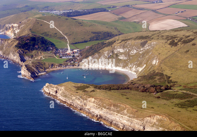Lulworth Cove, aerial view, Dorset, Britain, UK - Stock-Bilder