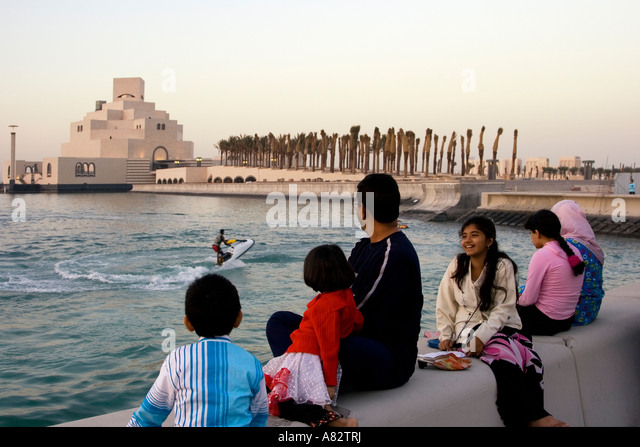 Museum of islamic art by famous architect I M Pei at the promanade of Doha corniche - Stock Image