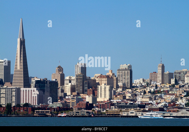 View of the city of San Francisco from Treasure Island, California, USA. - Stock Image