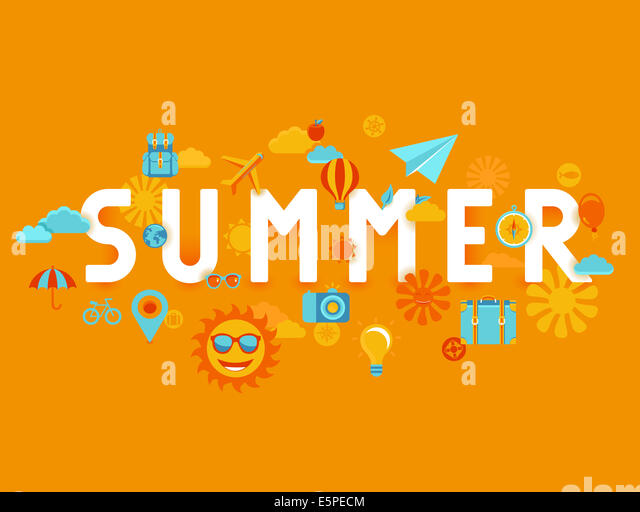 Summer poster in flat style - icons and signs with type - vacation and travel concept - Stock-Bilder