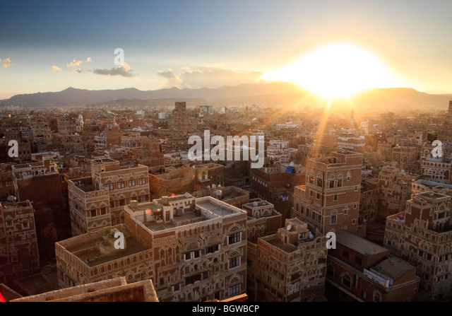 Sunset over Sana'a, Yemen - Stock-Bilder