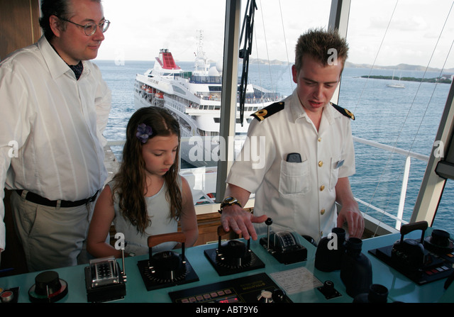 BVI Tortola Holland America Caribbean cruise from New York ms Noordam bridge controls officer tour - Stock Image