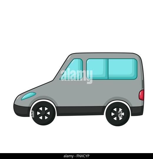 Urban transport icon in cartoon style isolated on white background. Gray minivan car - Stock Image