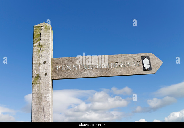 Pennine Bridleway Sign Leading on to Wild Boar Fell Cumbria UK - Stock Image