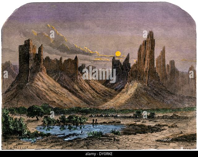 Hombori Mountains, in what is now Mali, western Africa, 1800s. Hand-colored woodcut of a 19th-century illustration - Stock Image