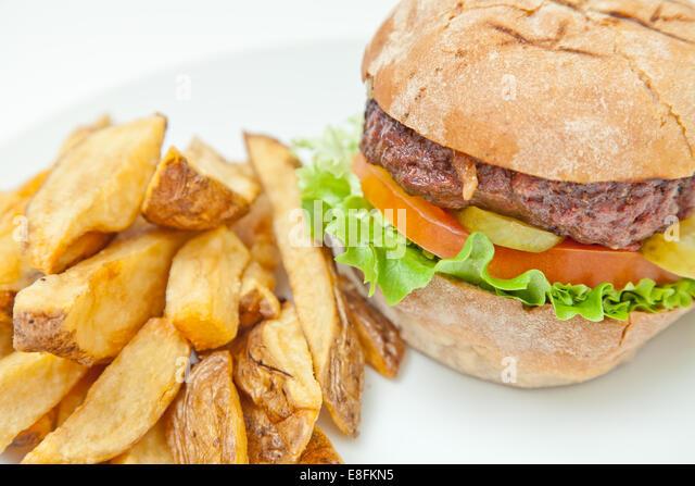 Hamburger And Fries - Stock-Bilder
