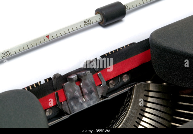 Typewriter close up at an angle - Stock Image
