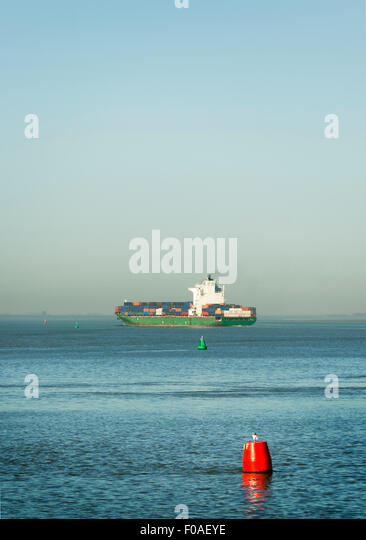 Containership sailing on the Westerschelde river, towards Antwerp harbour, Riland, Zealand, Netherlands - Stock Image