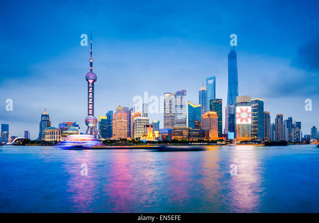 Shanghai, China financial district skyline on the Huangpu River. - Stock Image
