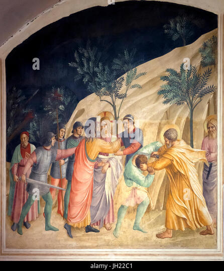 The Kiss of Judas, the Betrayal of Christ, by Fra Beato Angelico, 1437–1446, Convent of San Marco, Florence, Tuscany, - Stock Image