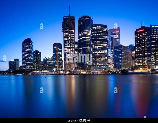Brisbane cityscape at night - Stock Image
