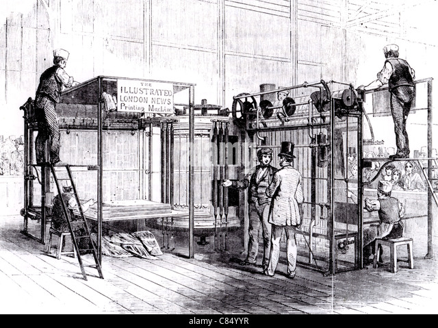 ILLUSTRATED LONDON NEWS PRINTING PRESS about 1845 - Stock Image