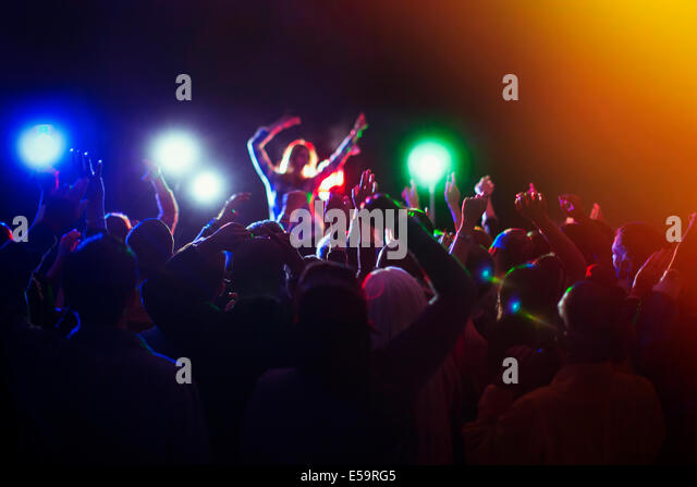 Audience enjoying music concert - Stock Image