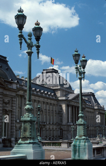 Belgium Brussels Palais Royal palace flag king's residence building architecture lamppost flag - Stock Image