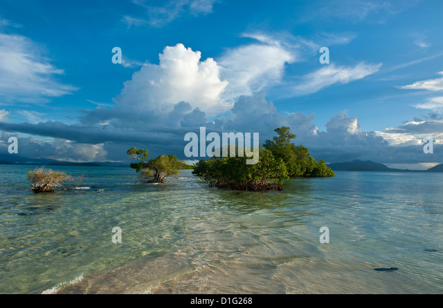 Huge cloud formations over the Marovo Lagoon, Solomon Islands, Pacific - Stock Image