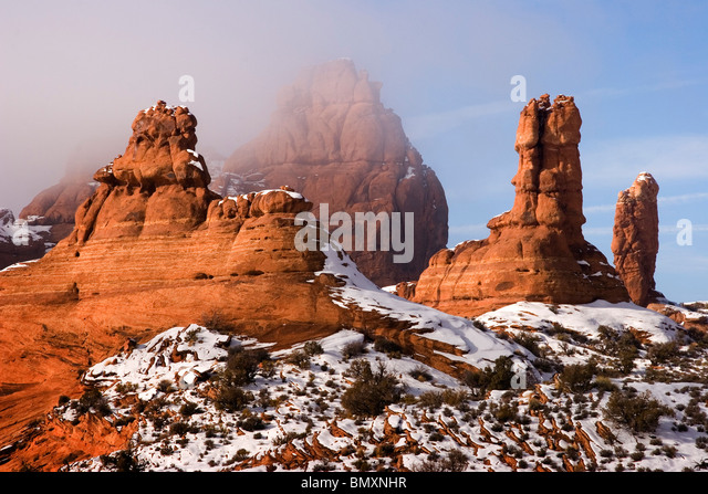 Winter in Arches National Park in the desert southwest of Utah USA - Stock-Bilder