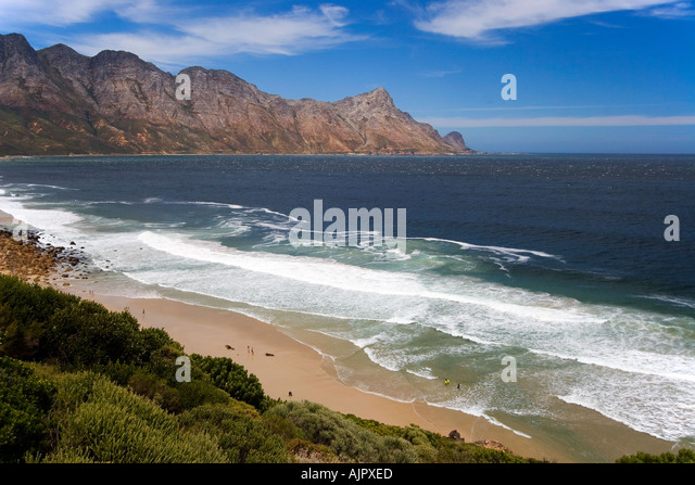 south africa garden route atlantic ocean False bay sufers beach - Stock Image