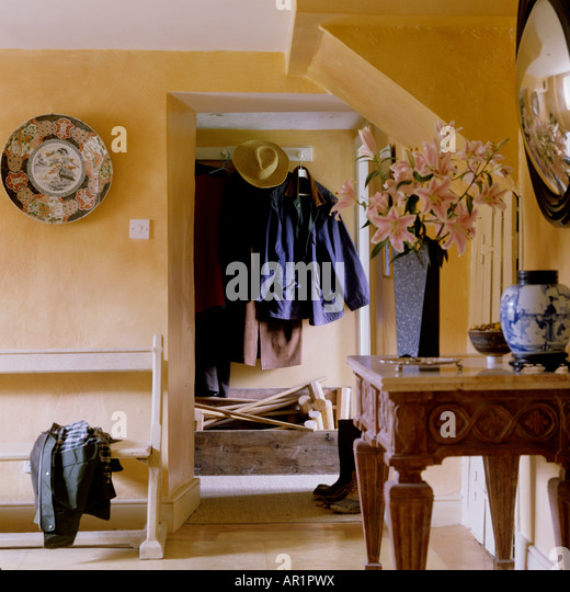 Entrance hall of an English country house - Stock Image