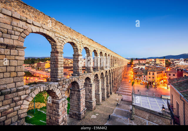 Segovia, Spain at the ancient Roman aqueduct. - Stock Image