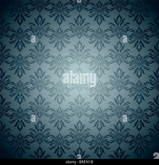 Blue and green classy wallpaper background design with seamless design - Stock Image
