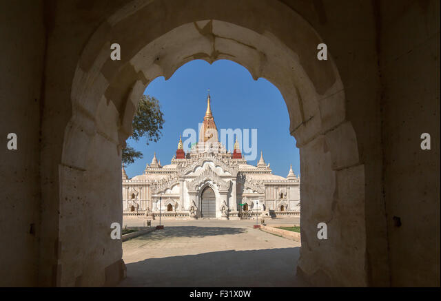 Ananda temple at the archaeological site of Bagan - Stock Image