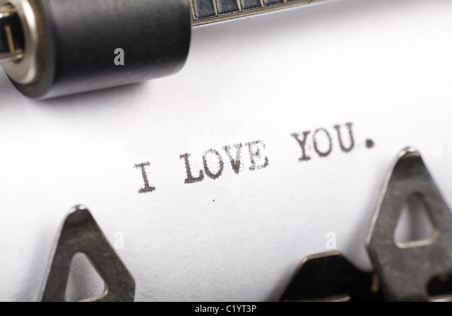 Typewriter close up shot, Concept of I Love You - Stock-Bilder