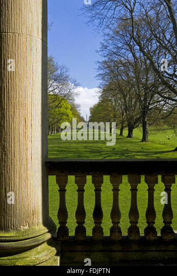 View down the Long Walk or Avenue of oak trees from the Chapel at Gibside, Newcastle upon Tyne. George Bowes inherited - Stock-Bilder