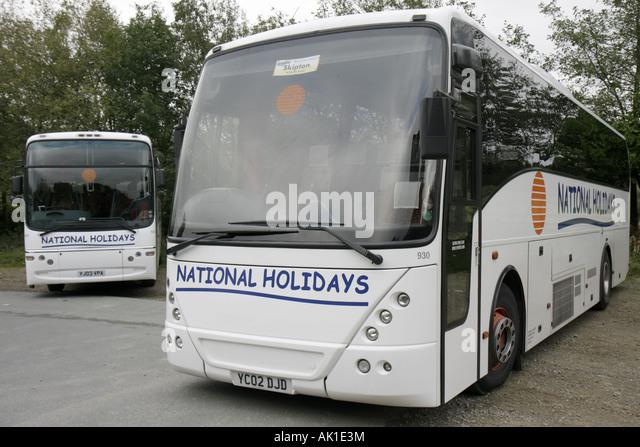 UK, England, Haworth, tour coach bus, - Stock Image