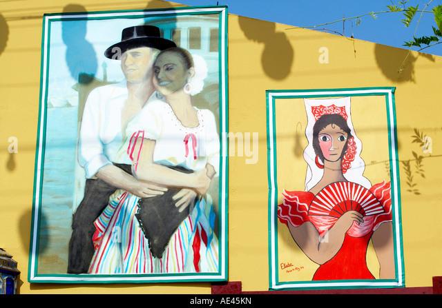 Mural paintings celebrating La Feria de Malaga (Malaga Festival), Malaga, Andalucia (Andalusia), Spain, Europe - Stock-Bilder