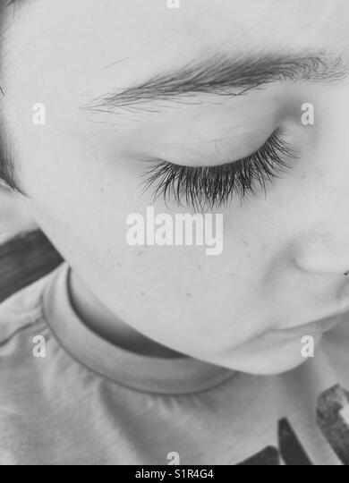 Eyelashes of a child - Stock Image