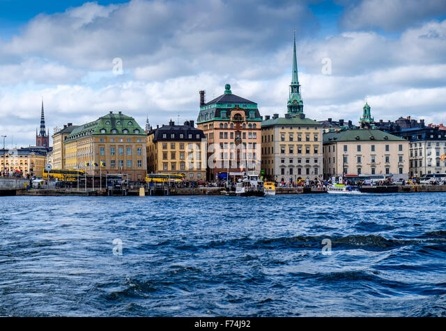 A view of Stockholm skyline from a ferry - Stock Image