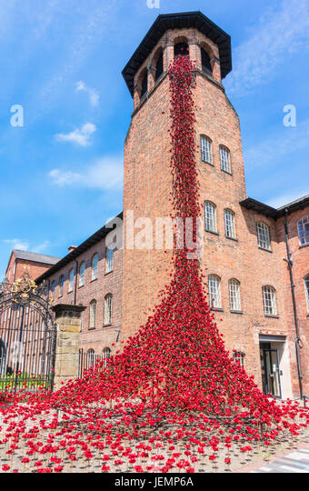 Derby Silk Mill Poppies Weeping Window Exhibition by Paul Cummings at Derby Silk Mill June 2017 Derby city centre - Stock Image