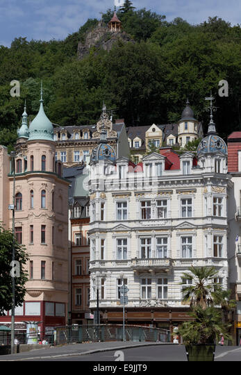 Buildings from the Founder Epoch or Gruenderzeit at Stará Louka, Karlovy Vary, Karlovy Vary Region, Bohemia, - Stock-Bilder