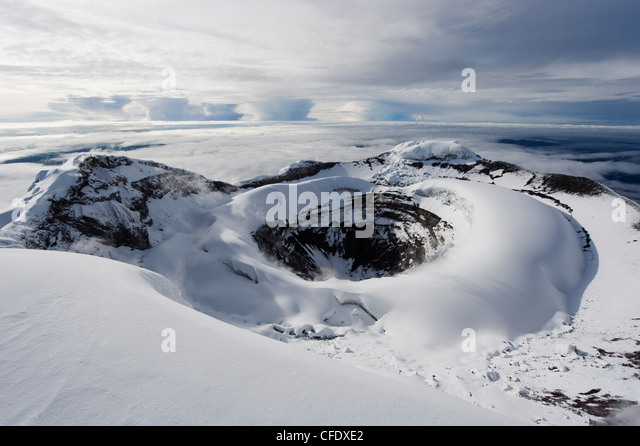 Summit crater, Volcan Cotopaxi, 5897m, the highest active volcano in the world, Ecuador, South America - Stock Image