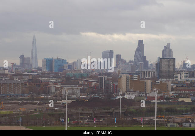 The London Skyline as seen from Stratford, London - Stock Image